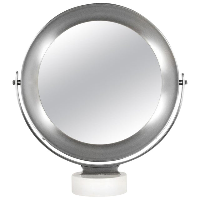 1960s Pivoting Vanity-Table Mirror by Sergio Mazza, White Marble, Italy For Sale