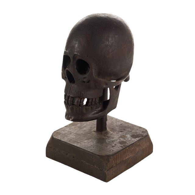 19th Century Hand Carved Wooden Skull - Image 1 of 9