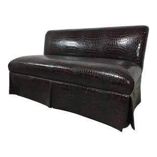 21st Century Vintage Faux Crocodile Loveseat For Sale