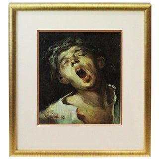 1970s Vintage Christopher Zhang the Choir Boy Painting For Sale