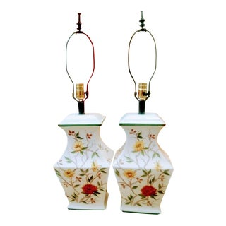 A Pair Chinoiserie Floral White Green Rust Ceramic Table Lamps For Sale