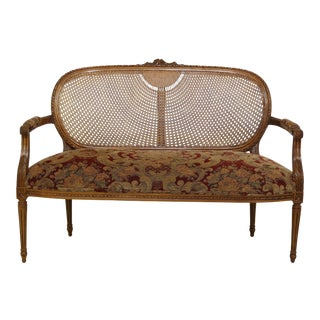 Fairfield Cane Back Upholstered Seat French Settee For Sale