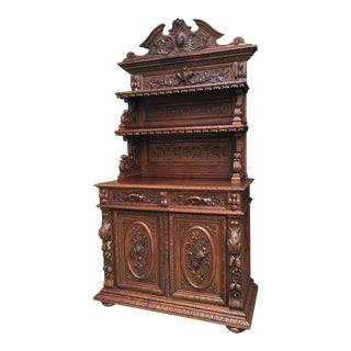 Late 19th Century Antique French Carved Oak Hunt Cabinet Sideboard Server Bookcase For Sale