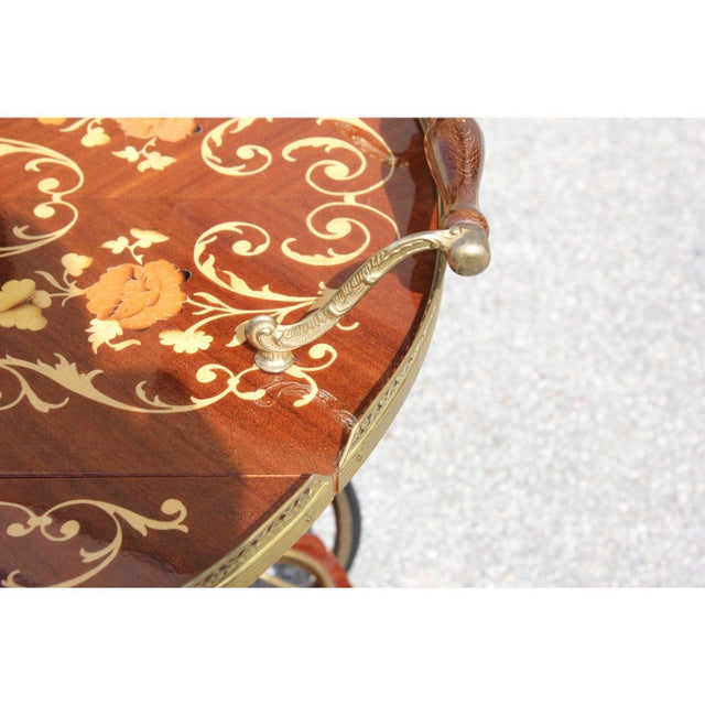 1950s French Marquetry Drop Leaf Bar Cart For Sale - Image 12 of 13