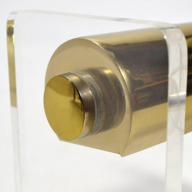 1960s Pierre Cardin Lucite and Brass Desk Lamp For Sale - Image 5 of 8