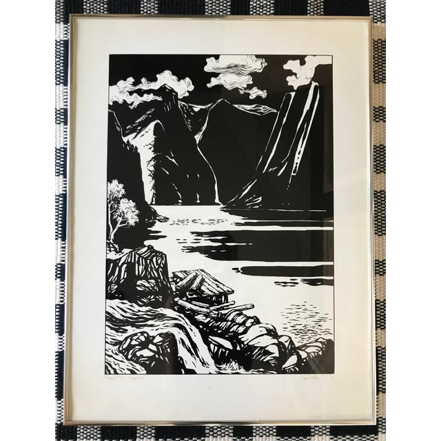 Signed Vintage Black and White Norway Print. Signed Jann WLoheu? in lower right corner 1977. Framed and ready to hang. e