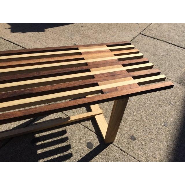 Mid-Century Style Handmade Slat Bench - Image 6 of 7