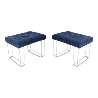 Modern Infinity Style Blue Velvet & Lucite Benches - a Pair For Sale