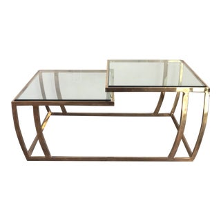 Vintage 70s Glam Brass Cantilevered Tiered Coffee Table For Sale