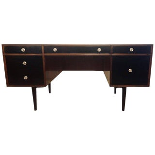 John Stuart Style Ebony and Teak Polished Mid-Century Modern Desk / Vanity For Sale