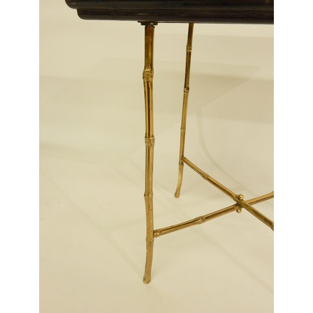 Early 20th Century Pair of Bamboo Brass Base and Chinoiserie Top Side Tables For Sale - Image 5 of 8