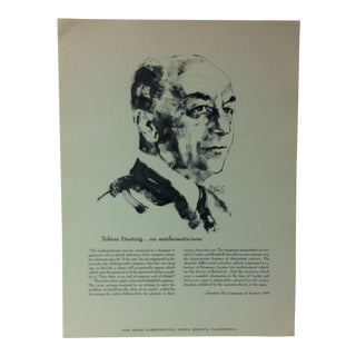 """1962 """"Tobias Dantzig - on Mathematicians"""" The Rand Corporation Famous People in History Print For Sale"""
