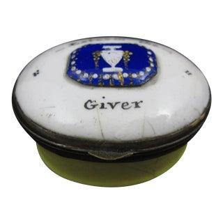 "18th Century English Bilston & Battersea Enamel Snuff Box, ""Esteem the Giver"""