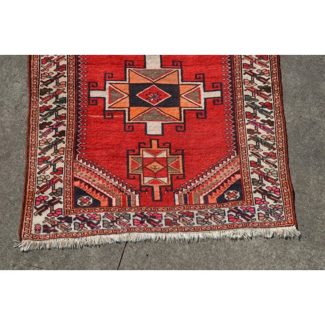 """Mid 20th Century Vintage Hand Knotted Persian Kazak Area Rug - 3' 11"""" X 7' 6"""" For Sale - Image 5 of 10"""