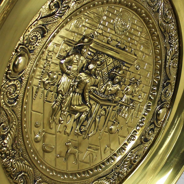 Peerage Brassware Decorative Embossed English Wall Plates - a Pair For Sale - Image 6 of 11