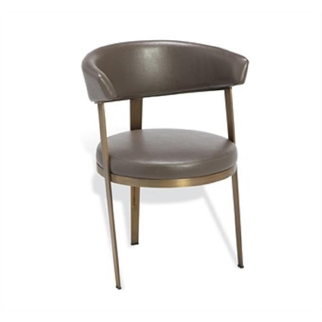 Mid-Century Modern Mid-Century Modern Bronze Steel and Faux Leather Dining Chair For Sale - Image 3 of 4