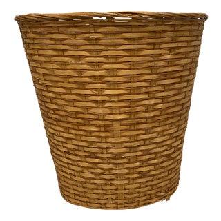 Rustic Wicker Rattan Wastebasket For Sale