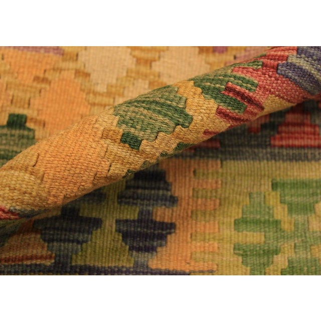 Tribal Kilim Arya Romilly Ivory/Blue Wool Rug -3'7 X 7'2 For Sale - Image 3 of 8