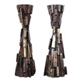 Image of Mid Century Modern Cast Bronze Brutalist Candle Holders - a Pair For Sale