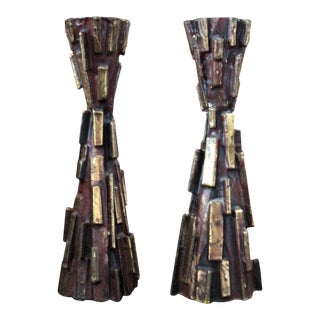 Mid Century Modern Cast Bronze Brutalist Candle Holders - a Pair For Sale