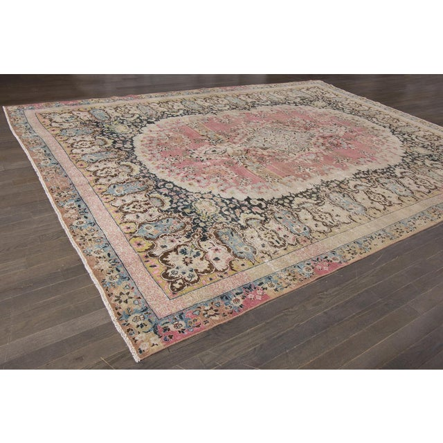 Distressed Vintage Mashad Rug For Sale - Image 4 of 5
