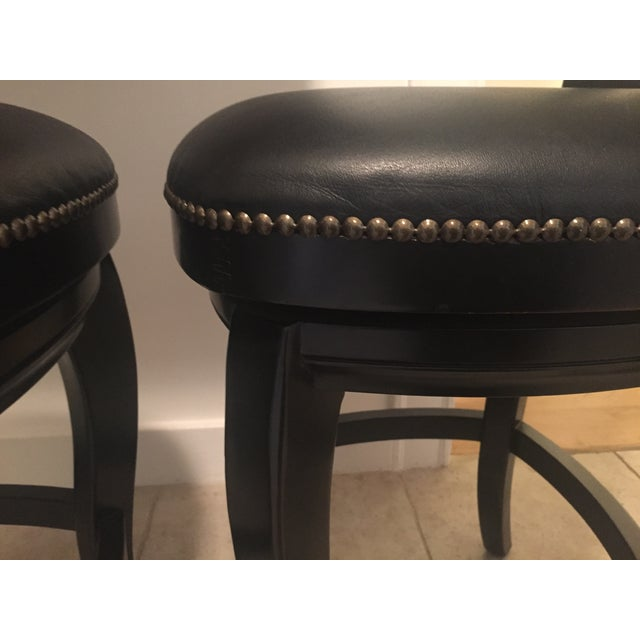 Braxton Leather & Wood Bar Stools - a Pair - Image 7 of 7