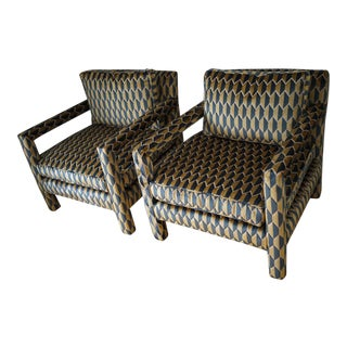 Baughman Style Velvet Open Arm Parson Chairs - A Pair