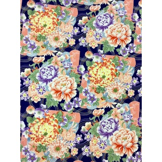 1990s Japanese Print Cotton Upholstery Fabric For Sale