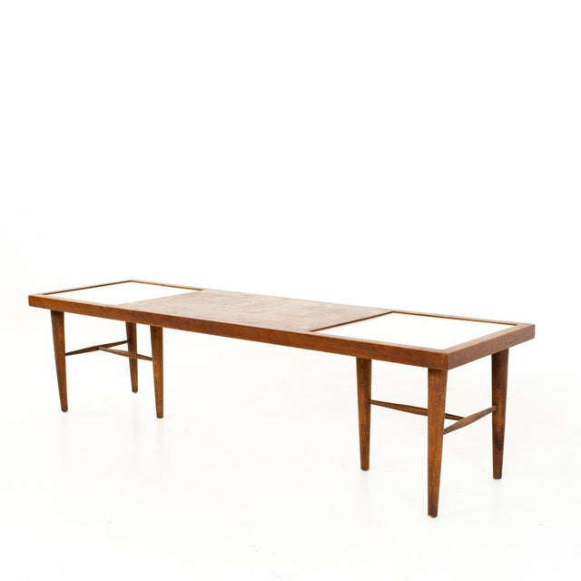 Mid-Century Modern Merton Gershun for American of Martinsville Mid Century X Inlaid Walnut and White Laminate Coffee Table For Sale - Image 3 of 12