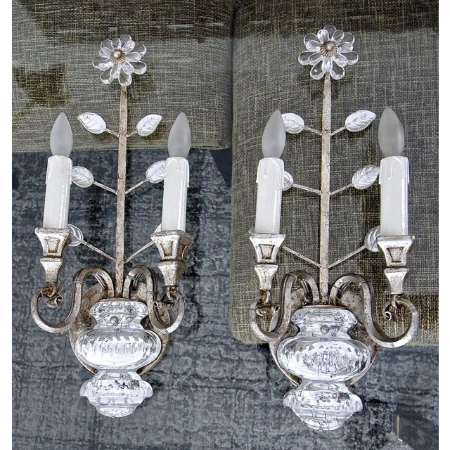 Banci Crystal Silver Gilt Flower Wall Sconces - a Pair For Sale In Palm Springs - Image 6 of 13