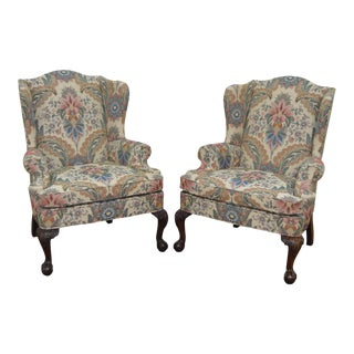 Woodmark Original Mahogany Ball & Claw Foot Chippendale Style Wing Chairs - a Pair