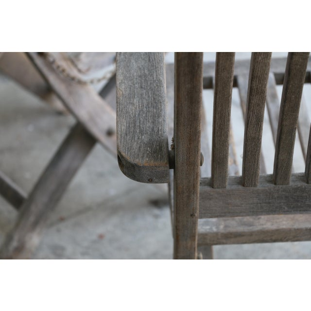 Gray Vintage Set of Teak Outdoor Patio Chairs For Sale - Image 8 of 13