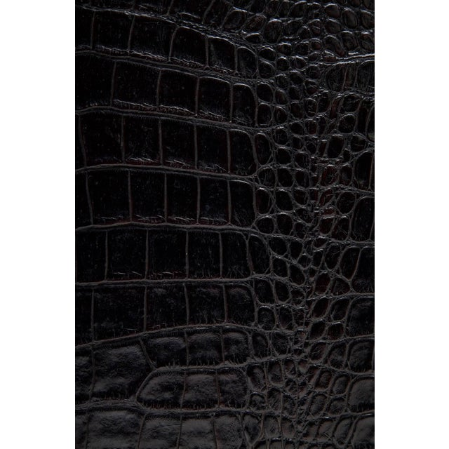 Black Alligator Embossed Leather End Tables - a Pair For Sale In Miami - Image 6 of 11
