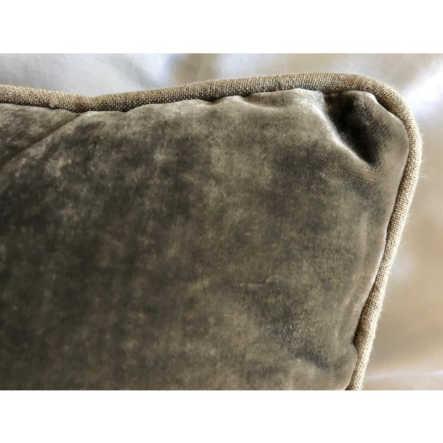 Grey Velvet Pillows Re-Designed With Antique Silver Wire Embroidery- a Pair For Sale - Image 10 of 13