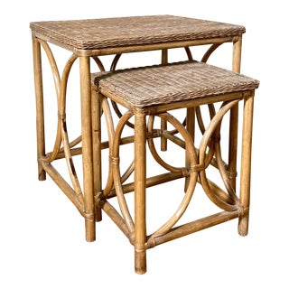 Vintage Rattan and Wicker Nesting Tables - a Pair For Sale