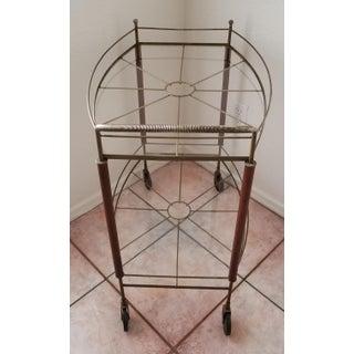 1960's Mid-Century Modern Metal & Teak Oval Glass Bar Cart Preview