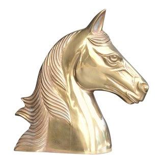 Vintage Brass Horse Head Sculpture / Bookend For Sale