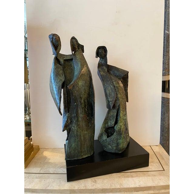 Brutalist Bronze Sculpture of Nuns For Sale - Image 4 of 11