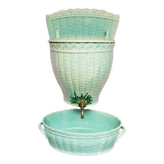 Mid 19th Century French Creil-Montereau Faience Porcelain Teal Basket Weave Pattern Lavabo and Basin - a Pair For Sale