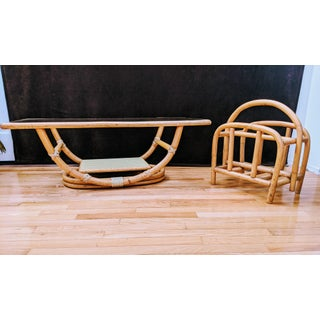 Ficks Reed Rattan Bamboo 1950s Boho Chic Coffee Table & Magazine Holder - a Pair Preview
