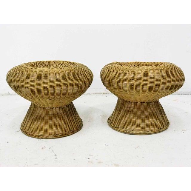 Mid Century Wicker Pedestal Pouf Stools - Pair - Image 2 of 5