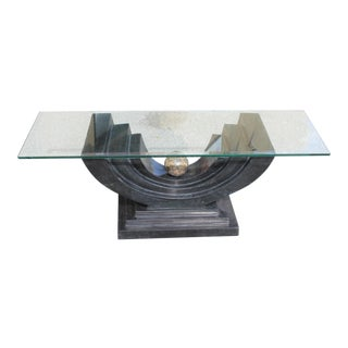 1970s Maitland Smith Art Deco Tessellated Stone Coffee Table For Sale
