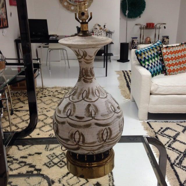 Hanpainted Mid-Century Lamp - Image 2 of 6