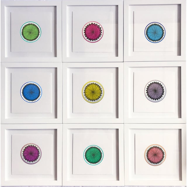 """Created in 2019 by Natasha Mistry, these nine separate drawings, join to form one piece. Each 8"""" drawing is framed..."""
