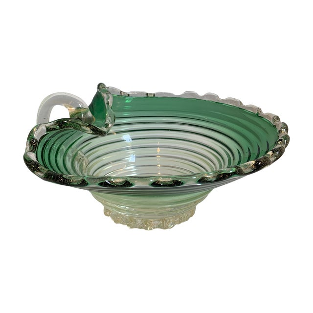 Green Vintage Murano Glass Green Scalloped Candy Dish With Gold Flecks For Sale - Image 8 of 8