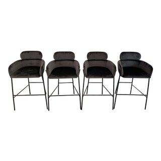 Contemporary Charcoal Velvet Bar Stools - Set of 4 For Sale