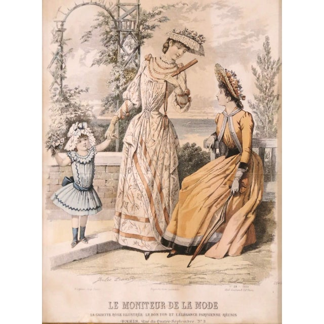"""19th Century French Color Women Fashion Prints Framed Dated 1890 """"Set of Five"""" For Sale - Image 12 of 13"""