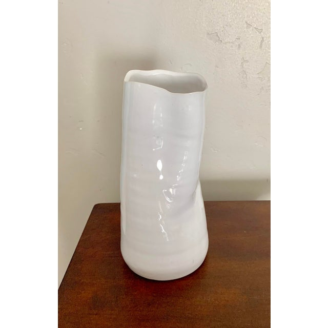 Organic vase with blanc de chine white glaze, beautiful with our without flowers! Perfect for a mantel, side table or...