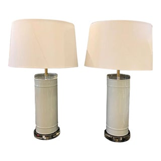 Modern Pale Grey Glass Lamps With Lucite Bases and White Linen Shades - a Pair For Sale