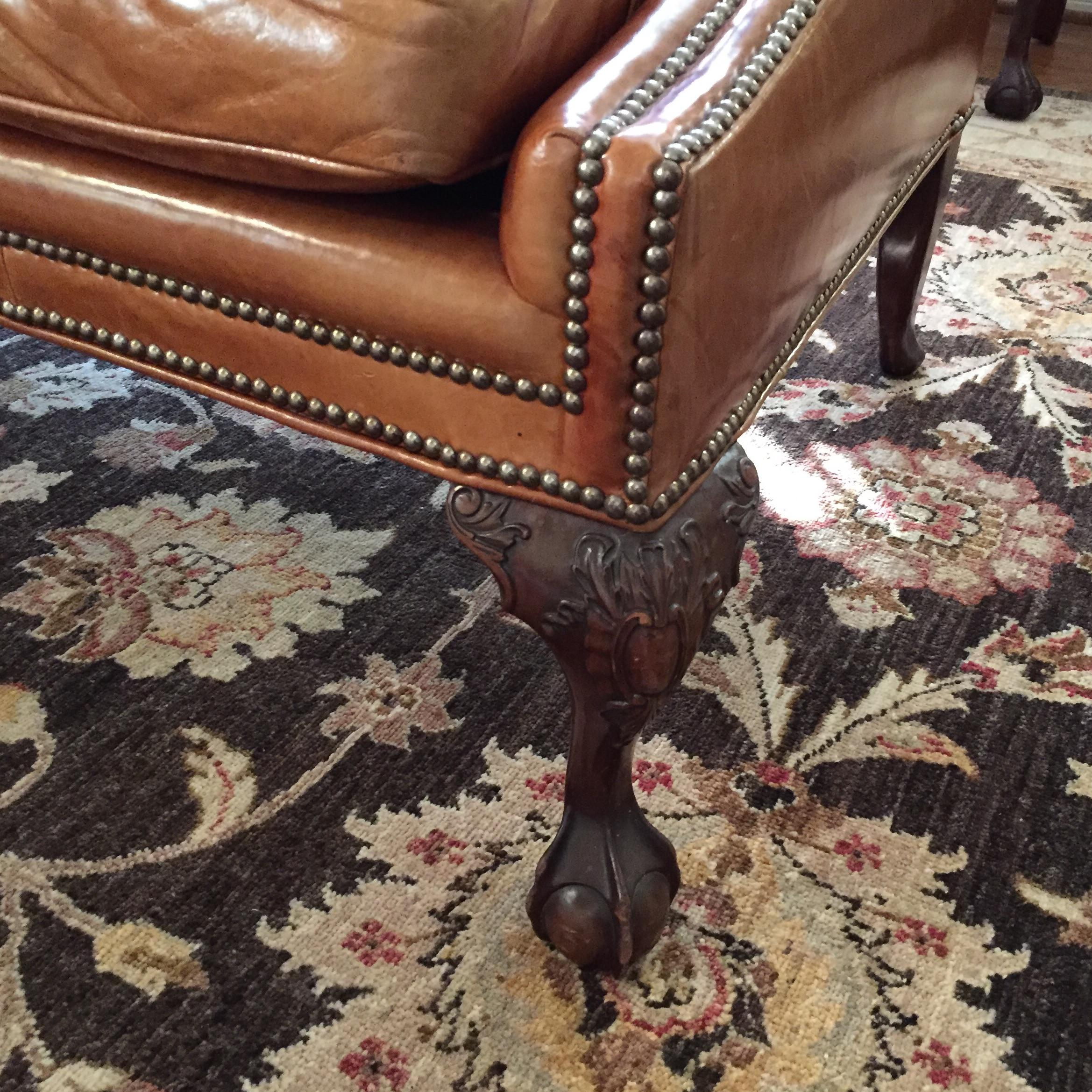 Antique Henredon Leather Sofa   Image 8 Of 9